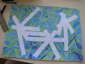 01k inkleuring potlood blauw en groen